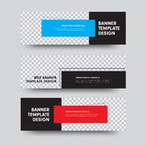 Set of black vector web banners with place for photo and color rectangles for text. Horizontal size templates stock illustration