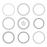 Set of black vintage circular frames with ornament. A set of abstract black symbols. Collection of retro banners. Circle empty templates with place for Stock Images