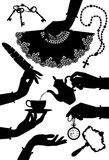 Set of black vintage silhouettes of woman`s hands and accessorie. S isolated on white. Vector illustration Stock Images