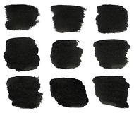 Set of black watercolor hand paint brush strokes are isolated on a white background. Set of black watercolor hand paint brush strokes are isolated on a white stock image