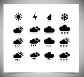 Set of black weather icons. Royalty Free Stock Photo