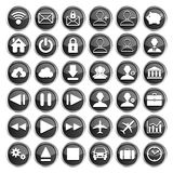 Set of black web, multimedia and business icons Stock Image