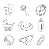 Set of black and white baby symbols Stock Photos