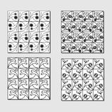 Set of black white background tiles with simply floral motif. Small mirror elements. Royalty Free Stock Photography