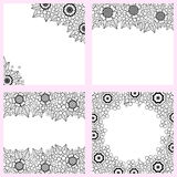 Set of black and white backgrounds with flowers Royalty Free Stock Photo