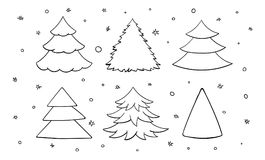 Set of black and white blank christmas trees. Doodle, hand drawn. Six fir-trees. Vector illustration isolated on white background Stock Photography
