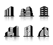 Set of black and white building icons Royalty Free Stock Images
