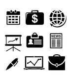 Set of black and white business icons. Depicting money, business travel, briefcase, reports, financial news and analytical graphs Stock Images