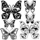 Set black and white butterflies Royalty Free Stock Image