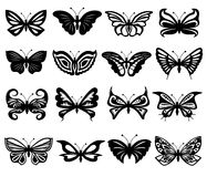 Set Of Black And White Butterflies Royalty Free Stock Image