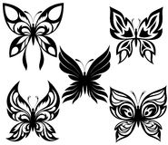 Set  black white butterflies of a tattoo Royalty Free Stock Photos