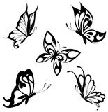 Set  black white butterflies of a tattoo Stock Image