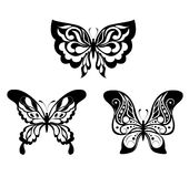 Set  black white butterflies of a tattoo Stock Photos