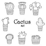 A set of black-and-white cactuses in pots in the Mexican style. White background Royalty Free Stock Photo