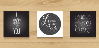 Set of black and white card templates. Handdrawn, calligraphy. Set of black and white card templates Stock Photography