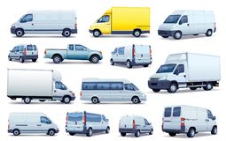Collection of cars. Set of black and white cars. Collection of various passenger cars and delivery trucks Stock Images
