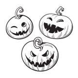 Set of black and white cartoon Halloween pumpkins. Hand drawn vector. Set of black and white cartoon Halloween pumpkins. Hand drawn vector illustration isolated royalty free illustration