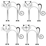Set of black and white cats Royalty Free Stock Images