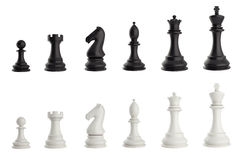 Set of black and white chess pieces. 3d illustration Royalty Free Stock Photography