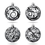 Set of Black and white Christmas balls Stock Photos