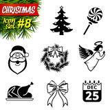 Set of black-and-white christmas icons. Collection of new year symbols. Qualitative vector (EPS-10) graphics for christmas, new year's day, winter holiday Stock Photography