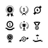 Set of black and white circular  winner emblems Stock Photos