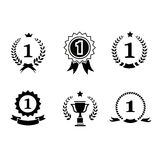 Set of black and white circular  winner emblems Royalty Free Stock Images