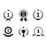 Set of black and white circular  winner emblems Royalty Free Stock Images