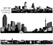 Set of black and white cityscapes with skyscrapers. Stock Photography