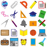 Set of black ,white and color school web icons. Vector Illustration EPS10 Stock Photos