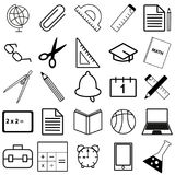 Set of black ,white and color school web icons. Vector Illustration EPS10 Royalty Free Stock Photography