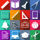 Set of black, white and color school web icons. Vector illustration EPS10 Stock Images