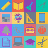Set of black, white and color school web icons. Vector illustration EPS10 Stock Photo