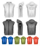 Set of black and white and colorful male hoodies Stock Photos