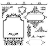 Set of black white design elements and page decoration. Frames, divider, stripe pattern, angle collection, calligraphy vector illustration Stock Images