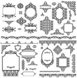 Set of black white design elements and page decoration Stock Photography