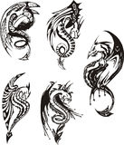 Set of black and white dragons. Set of black and white powerful dragons. Vector illustration Royalty Free Stock Photography