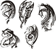 Set of black and white dragons. Set of black and white powerful dragons. Vector illustration Stock Image