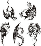 Set of black and white dragons Stock Images