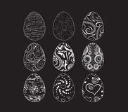 A set of black-and-white easter eggs decorated with ornament. Happy easter eggs and bunny for design holiday Royalty Free Stock Photos