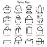Set of black and white fashion bag line icons Stock Image