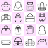 Set of black and white fashion bag line icons Stock Photo