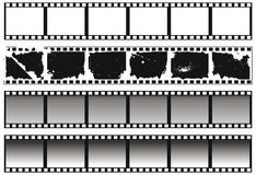 Set of black-and-white filmstrips. Set of vintage black-and-white filmstrips Royalty Free Stock Photo