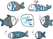 Set of black and white fishes in doodle ink style Stock Images