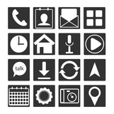 Set of 16 black white flat mobile app icon. Outline button sign for web development, android and mo Stock Photography