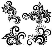 Set of black and white floral elements Royalty Free Stock Images