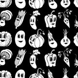 Set of 10 black and white funny cartoon vegetables Stock Image