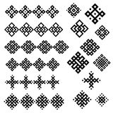 A set of of black and white geometric designs. Royalty Free Stock Photo