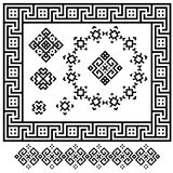 A set of black and white geometric designs. Signs, frames and border. Vector illustration.  Royalty Free Stock Photo