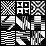 Set of black and white geometric seamless pattern. Royalty Free Stock Images